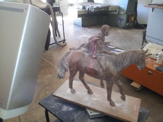 Horse and Rider Bronze Sculpture